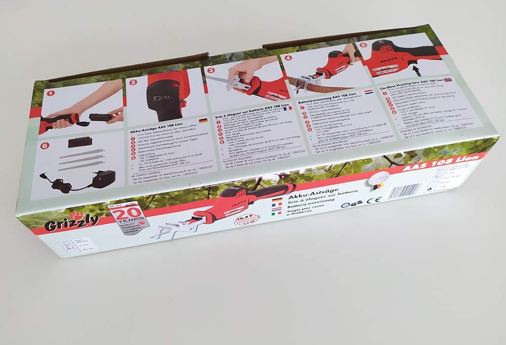 Grizzly Akku Säbelsäge Astsäge AAS 108 Lion inkl. 10,8 V 2,0 Ah Akku und Ladegerät
